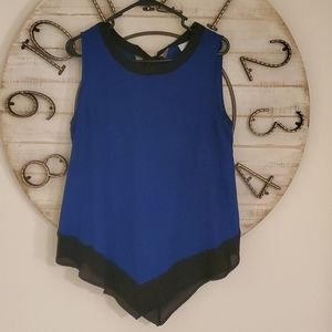 V bottom sleeveless blouse with ribbon tie back